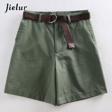 Jielur Shorts All-match 4 Solid Color Sashes Casual Shorts Women A-line High Waist Slim Short Femme Chic S-XXL Ladies Bottom