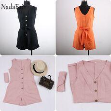 Nadafair Casual Playsuit Woman Off Shoulder Belt Tunic Pink Black Solid Summer Elegant Jumpsuit Short 2020 Overalls For Women
