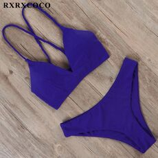 RXRXCOCO Sexy Bandage Bikini 2020 Swimsuit Swimwear Women Thong Push Up Bikinis Set women's swimming suit Biquini Bathing Suit