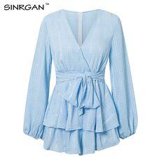 SINRGAN Solid deep V neck bw tie slim elegent playsuits women Lantern Sleeve spring summer sexy Jumpsuits Short Rompers Overalls