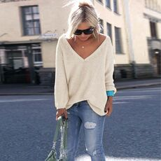 Sexy Knitted V Neck Sweater Women Plus Size Loose Sweater Oversized Women Pullover Sweater Female Long Sleeve Winter Knitwear