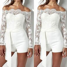 Sexy Lace Jumpsuit Womens Lace Off shoulder Jumpsuit Bodycon Playsuit Short Trousers White Romper