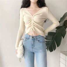 Sexy V Neck Lace Up Knitted Sweaters Women Autumn Ribbed Long Sleeve Solid Navel Bare Crop Tops Autumn Knitwear Jumper Tops