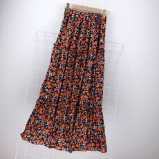 Woman Sets Short Sleeve Square Collar Skinny Sexy T-shirts  High Waist Floral-Printed Long Skirts 2 Piece Suits Female OL Sets