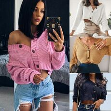 Women Knitted Cropped Cardigan Sweaters Female Short Coat V Neck Single Breasted Knitwear Spring Autumn Solid Shawl Jacket