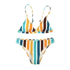 Women's Swimming Suit 2020 Sexy Bikini Swimsuit Swimwear Womens Rainbow Striped Print Bikini Set Bandage Tankini Beach Bathing