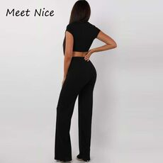 2 Two Piece Set Women Ribbed O Neck Crop Top and Long Pants Set Sexy Autumn Short Sleeve Tracksuit Women Conjunto Feminino 2020