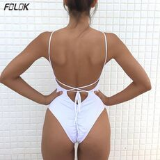 2020 New Women Solid Swimwear Sexy Bandage One Piece Swimsuit Backless Bathing Suit Bodysuit Beachwear Swim Monokini Plus Size