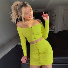 2020 Sexy Off Shoulder Two Piece Set Solid Button Bodycon 2 Piece Set Women Long Sleeve Top And Skirt Summer Autumn Sets