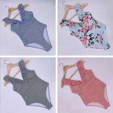2020 Sexy Striped Swimsuit Women Push Up One Piece Swimsuit Print High Waist Swimwear Female Retro Ruffled Bodysuit Monokini XXL