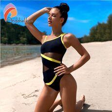 Andzhelika Sexy One Shoulder One Piece Swimsuit 2020 New Off Shoulder Mesh Patchwork Swimwear Bodysuit Bathing Suit Monokini