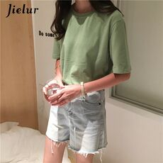 Jielur Tee Shirt 15 Solid Color Basic T Shirt Women Casual O-neck Harajuku Summer Top Korean Hipster White Tshirt S-XL