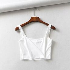 LUNDUNSHIJIA Hot Sale 2019 Summer Women Sexy Sleeveless Tops Fashion Short Square Collar Tank Tops 4 Colors