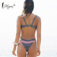 Miyouj Push Up Bikinis Female 2019 New Biquini Floral Swimwear Women Bathing Suit Dot Swimsuit Women'S Beach Bandeau Bikini Set