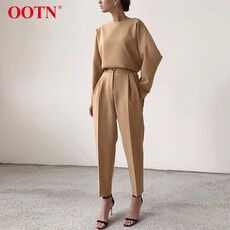 OOTN Casual High Waist Khaki Pants Women Summer Spring Brown Ladies Office Trousers Zipper Pocket Solid Female Pencil Pants 2020