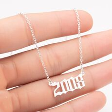 Oly2u Unique Commemorating Year Number Stainless Steel Necklace for Women Girls