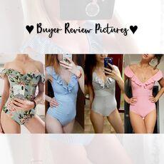 PLAVKY 2020 Sexy Female Retro V Neck Blue Striped Swimsuit One Piece Ruffled Push Up Padded High Waist Swimwear Women Monokini