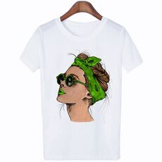 Plus Size Women Summer Vogue Print Lady Casual T-shirt Tops Harajuku Streetwear Short Sleeve O-Neck Tops Tees Camisetas Mujer