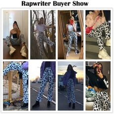 Rapwriter Casual Elastic High Waist Milk Cow Print Pants Women Summer Straight Loose Fashion Trousers Heat Pantalon Femme Pants