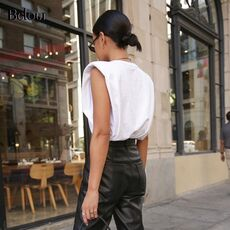 Summer Sleeveless White Loose Top Women O Neck Camis Casual Basic Sport Vest Tops Female Streetwear Fashion Tank Top Autumn 2020
