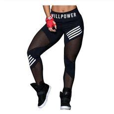 Women Leggings High Waist Mesh Pacthwork Sports leggings  Plus Size Black Gym Fitness Letter Print Sportwear Femme