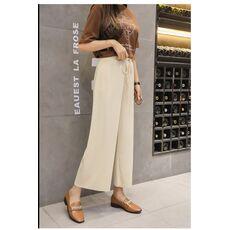 Women Summer Thin Knit Trousers Black Wide Leg Loose Pants Ankle Length Pants Casual trouser Elastic Waist Plus Size Pants S-4XL
