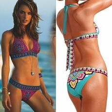 Women's Swimming Suit Bikini Set New Sexy Halter Backless Bandage Costume Bathing Swimwear Monokini For Beach Swimming Party