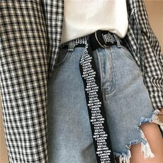 24 styles Unisex Canvas Belts Letters Printed D Ring Double Buckle Punk Waist Strap Women Men Teenager Long Wide white Belt