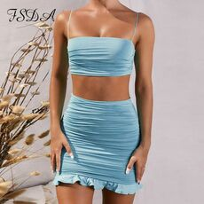 FSDA Summer 2020 Women Set Spaghetti Strap Crop Top White Sexy And Mini Bodycon Skirt Ruffles Party Outfit Club Two Piece Sets