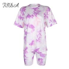 FSDA Women Set Summer Tie Dye Short Sleeve Top Shirt Loose And Biker Shorts Casual Two Piece Set Streetwear Outfits Tracksuits