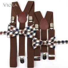 Mens kids Plaid Striped Suspenders Bowtie Sets Child Baby Boy Girl Y-Back Braces Women Cotton Butterfly Belt Bow Tie Shirt Pants