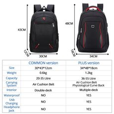 Waterproof Solid Large Backpack Men Laptop Bags Black Backpack Man Travel Backpack Teenager Bookbag Oxford Backpack