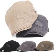 2019 Mens Hat Solid Cotton Cap Golf Driving Summer Sun Flat Newsboy Caps