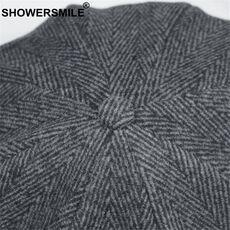 SHOWERSMILE Brand Wool Newsboy Caps Men Grey Herringbone Flat Caps Women Coffee British Gatsby Cap Autumn Winter Woolen Hats