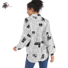Newspaper Letters Patchwork Button Front Shirt Blouse Women Clothes Streetwear Autumn Long Sleeve Ladies Tops and Blouses
