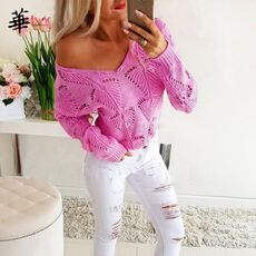Sexy Hollow Out Knitted Woman Sweaters Pink V neck Pull Femme Autumn Fall 2020 Women Sweater Loose Jumper Sweater for Women