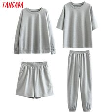 Tangada 2020 Autumn Women Terry 95% cotton suit oversized 4 pieces sets o neck hoodies sweatshirt shorts pants suits 6L30