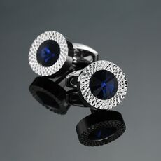 Novelty Luxury Blue white Cufflinks for Mens  Brand High Quality crown Crystal gold silvery Cufflinks Shirt Cuff Links