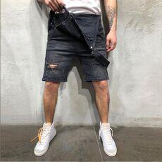 2020 Oversize Fashion Men's Ripped Jeans Jumpsuits Shorts Summer Hi Street Distressed Denim Bib Overalls For Man Suspender Pants