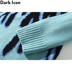 DARK ICON Blue Flame Sweater Me 2019 Winter Streetwear Men's Sweaters Pullover Knitwear Sweater for Men