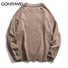GONTHWID Embroidery Dinosaur Hamburger Bear Pullover Knitted Sweaters Harajuku Casual Knitwear Jumper Tops Hip Hop Streetwear