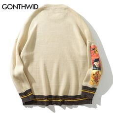 GONTHWID Van Gogh Sleeve Patchwork Pullover Knit Sweater 2019 Mens Hip Hop Embroidery Crewneck Knitwear Sweaters Streetwear Tops