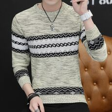 Men's Autumn Fashion Casual crocheted striped Color Block thin Knitwear Jumper Pullover Sweater men masculino jersey clothes