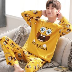 Yidanna Men Pajamas Set Cotton Sleepwear Cartoon Print Nightwear Long Sleeved Sleep Clothing Casual Nighties Autumn Male Lounge