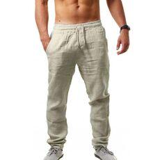 2019 men Cotton and linen trousers Calcas De Linho Verao Calcas Dos Homens Com Cordao Soltas Pantalones Hombre Solidos Harem Pan