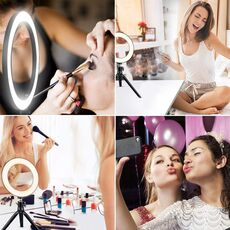 "6'' 10"" LED ring light 26cm Photography Lighting Dimmable Selfie lamp with tripod for makeup Youtube Tiktok phone camera video"