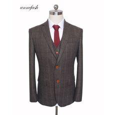 Custom Made Woolen dark brown Herringbone Tweed British style Mens suit tailor slim fit Blazer wedding men suit 3pcs