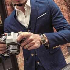 ( Jacket + Vest + Pants ) New Fashion Boutique Men's Plaid Formal Business Suit 3 Piece Set / Men's High-end Casual Suits