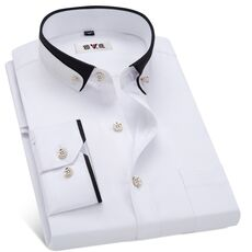 MACROSEA Men's Business Dress Shirts Male Formal Button-Down Collar Shirt Fashion Style Spring&Autumn Men's Casual Shirt