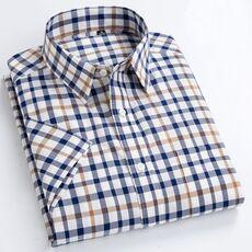 MACROSEA Summer Short Sleeve Plaid Shirts Fashion Men Business Formal Casual Shirts 100% Cotton Slim Fit Shirts Plus Size S-8XL